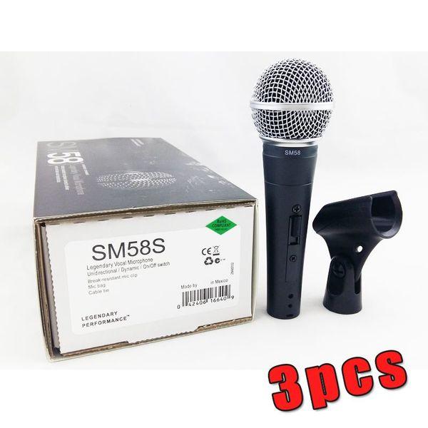 3 stück !! Neue Verpackung !! Neues Label !! Hohe qualität SM 58 58 S 58SK Klaren Klang Handheld Wired Karaoke Mikrofon Mic