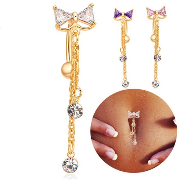 Hot Sale High Quality Lovely Bow Belly Ring Belly Button Sexy Dancing Belly Ring Piercing Navel Body Jewelry for Girls BR-064