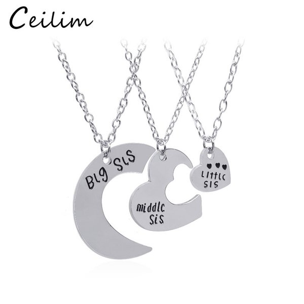 Jewelry Silver & Gold Colors 3Pcs/Set Big Sis Middle Sis Little Sis Letter Heart Necklace Brief Gift Fashion New Style Sister Jewelry