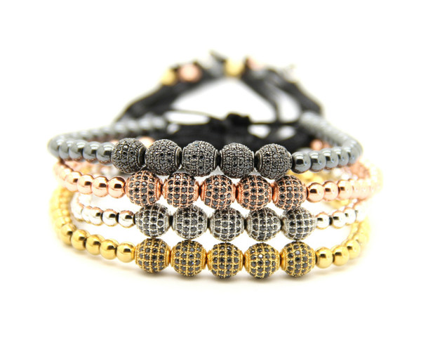 Wholesale 6mm Gold, Rose Gold, Gun Black and Platinum Pave 5 CZ Beads Braiding Bracelet For Men & Women Jewelry
