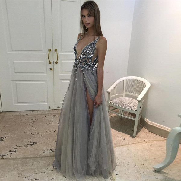 best selling 2020 Hot Split Evening Dresses Plunging Neckline Crystal Prom Gowns Custom made Tulle Evening Party Dress Real Pictures
