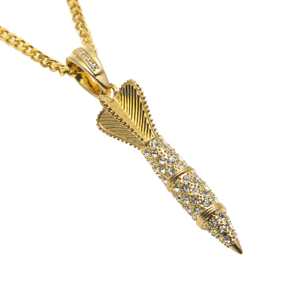 18k Silver Gold Plated Arrow Pendant Hip Hop Iced Out Bling Rhinestone Fashion Punk Rocket Pendant Necklace Men Jewelry
