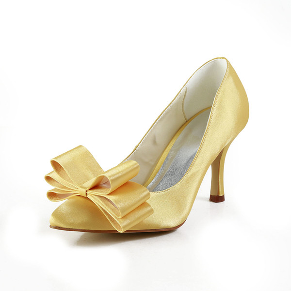 Dyeable Satin 8cm Heel Pump Elegant Style Pointy Shoe Bridal Shoe Wedding  Dress Shoes Handmade Shoe