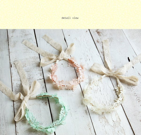 Vintage Beading Flower Lace Girls Hair Clasp Cute Lovely Hair Bands Hair Sticks children Accessories White Pink Green 20pcs A8398