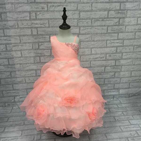 Elegant One Shoulder Girl Party Dress Kids Pageant Ball Gown Peach Lace Flower Girl Dress Formal Children Clothes Vestido