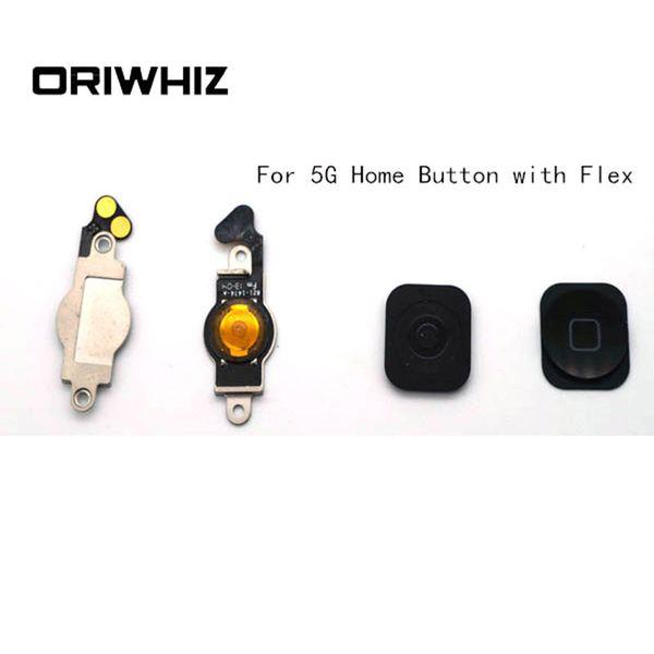 Foto reali Pulsante Home di alta qualità con Flex per iPhone 5 5G Parti di ricambio per schermo LCD Nero Colore bianco Supporto Ordine misto Accettare