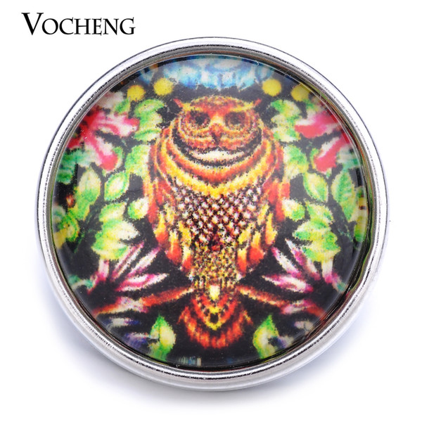 VOCHENG NOOSA Wholesale Owl Glass Snap Jewelry 18mm Interchangeable Button Vn-1264