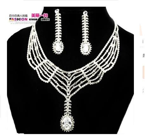 noble white diamond crystal set necklace earings grgdf