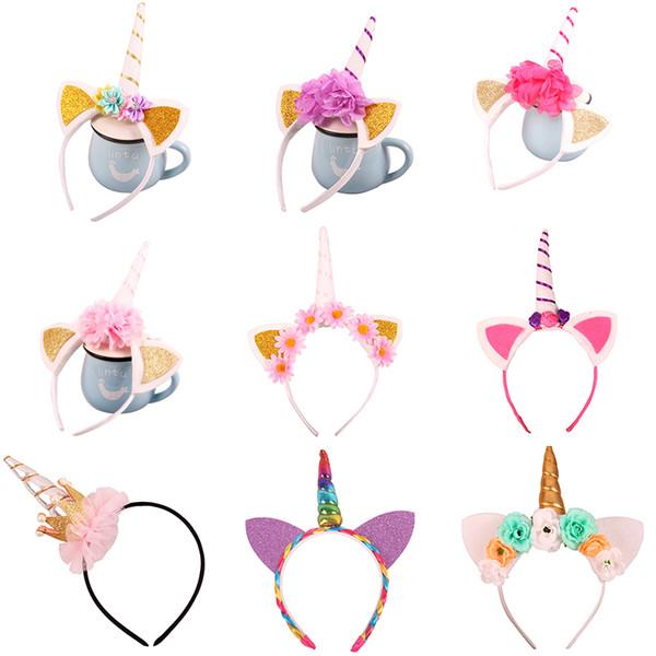 20 Designs Girls Kids Decorative Unicorn Hairwear Head Fancy Party Horn Hair Headband Fancy Dress Cosplay Costume Jewelry Gift