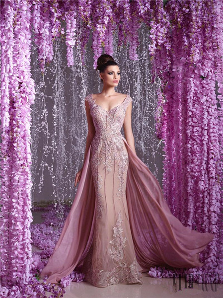 Toumajean Couture blush floral chiffon Overskirt Evening Dresses V Neck Beaded Prom Gowns Floor Length Appliques Evening Dress