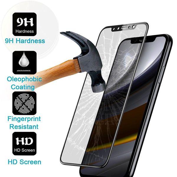 Per iPhone X 8 Pellicola protettiva per schermo in fibra di vetro lucida in fibra di vetro 9H 3D lucida per iPhone 7 7 Plus 6 5
