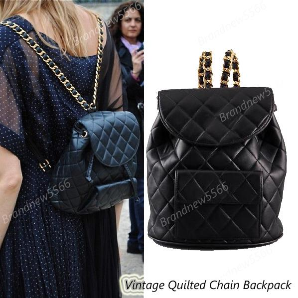 excellent quality vintage quilted black lambskin leather backpack gold chain double shoulder backpack girl fashion school bag