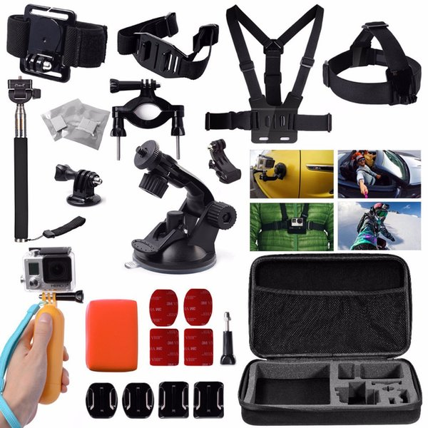 Freeshipping fit For GoPro accessories Set For GoPro case Chest Belt Head Mount Strap Go pro hero3 Hero4 3 2 Black Edition monopod kit