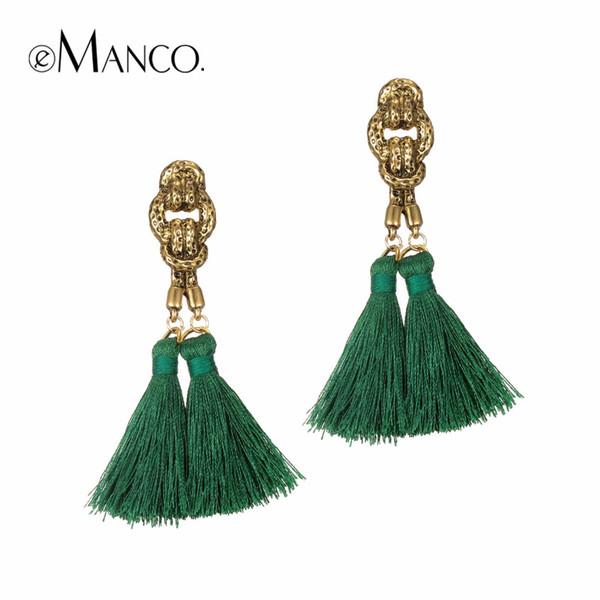 Boucles d'oreilles pompon bohème eManco suspendus gouttes pour les femmes déclaration boucles d'oreilles vert vintage pendants bijoux 8 couleurs