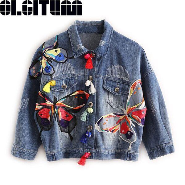 2017 OLGITUM красочные бабочки вышивка дамы Жан куртки патч дизайн женские джинсовые пальто с кисточкой потертый тонкий куртка