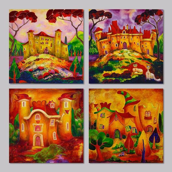 4pcs/set Cartoon houses halloween decoration wonderland wall art picture Canvas Painting for children kids living room unframed