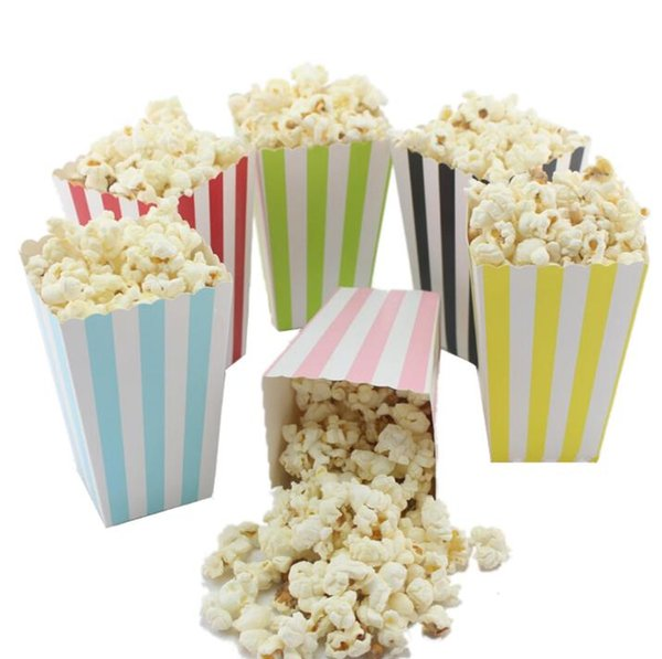 Venta al por mayor Mini Party Paper Popcorn Boxes Candy / Sanck Favor Bags Wedding Birthday Movie Party Supplies SN3659