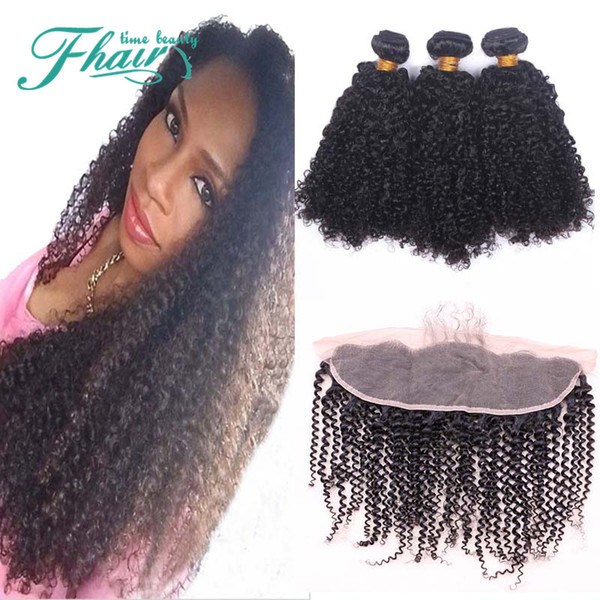Premium Now Afro Kinky Curly 8A Peruvian Human Hair Weave Bundles With Lace Frontal Closure 13x4 Cheap Sensational 4Pcs Lot