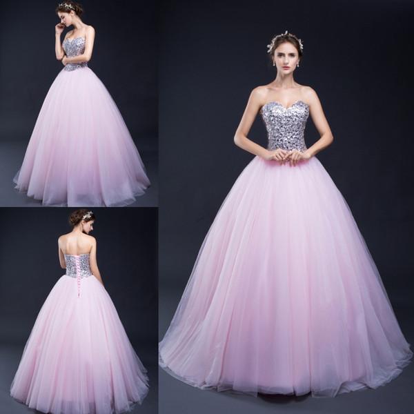 100% реальное изображение на складе Милая шеи бальное платье Quinceanera платья розовый тюль Кристалл Сладкие 16 платьев Удивительное платье платье
