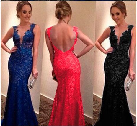 New Dresses Evening Wear Sexy Deep V-Neck Long Sleeves Appliques Lace Beaded Mermaid Long Formal Prom Dress Cocktail Party Gown
