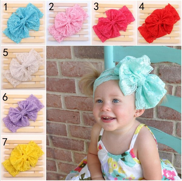 best selling 7 Color Baby Big Lace Bow Headbands Girls Cute Bow Hair Band Infant Lovely Headwrap Children Bowknot Elastic Accessories Sweetgirl B001