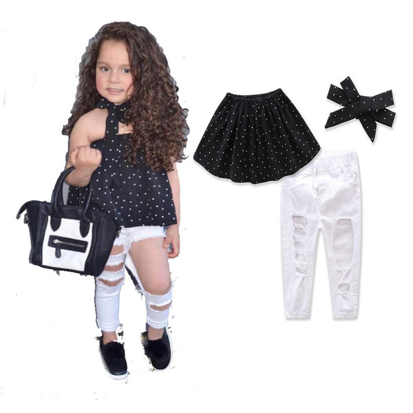 2019 2017 New Fashion Baby Girl Clothes Sets Hole Pants+Neckwear+Tube  Shirts Kids Girl Dot Tops Vintage White Pants Sleeveless Tees From  Storeforbaby,