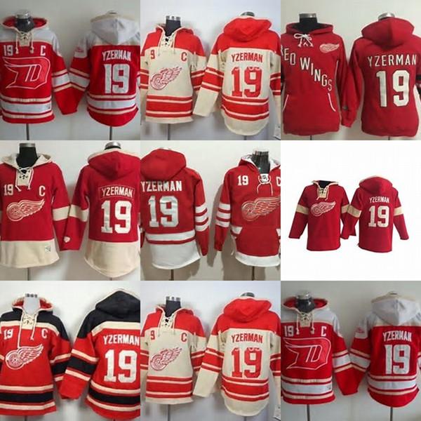 Venda quente Mens Detroit Red Wings 19 Steve Yzerman Melhor Qualidade Barato Completo Bordado Logos Hóquei No Gelo Hoodies Aceitar Misturar Ordem Terno S-3XL