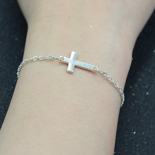 2016 New Simple Silver Cross Bracelet with Heart Charm Link Chain Silver/Gold for Women Fine Jewelry Wholesale
