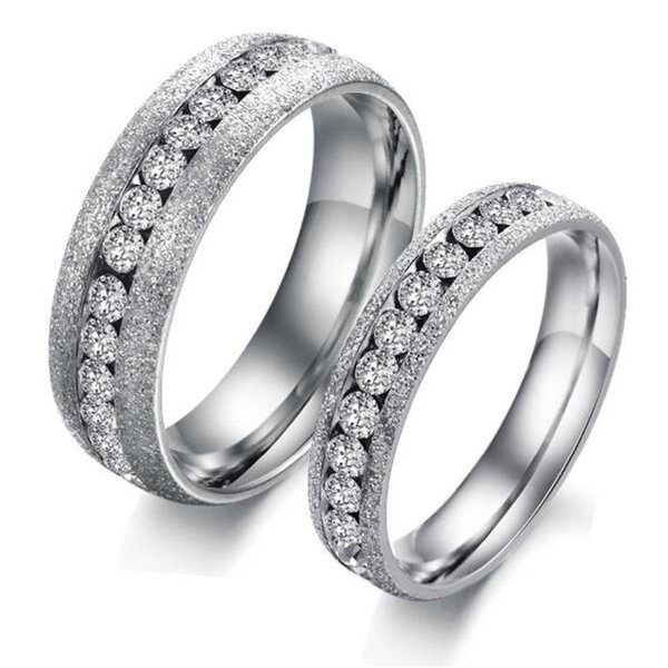 jewelry lovers wedding ring gift romantic stainless steel woman man finger rings cubic zirconia for - Woman Wedding Ring