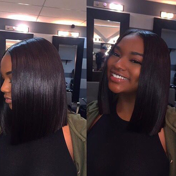 Wigs for Black Women full Lace Wigs 100% Virgin Human Hair Short Bob Straight Wigs Medium Cap Middle Part Bellahair