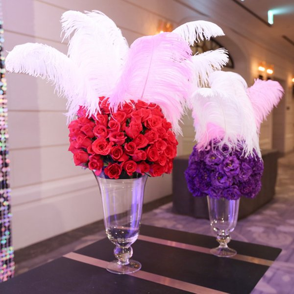 Wholesale 100 pcs per lot White Ostrich Feather Plume for Wedding center pieces party table decorations supplies free shipping