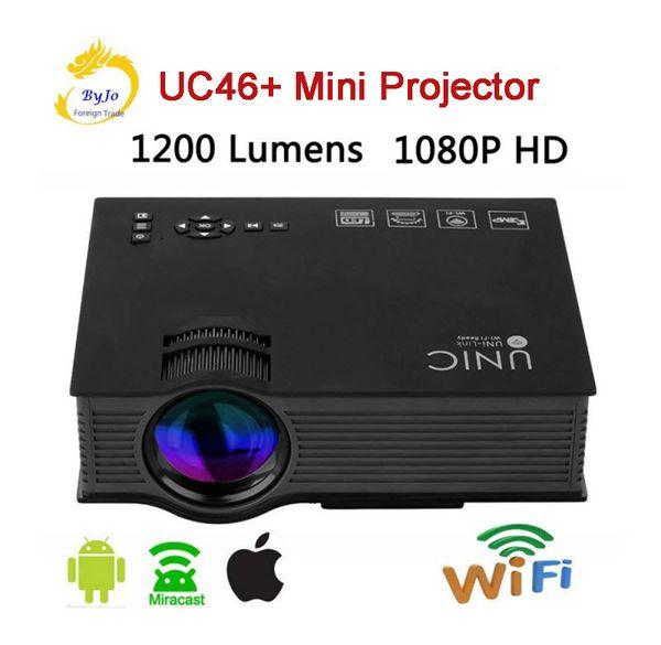 UNIC uc46 + Mini LED Proyector Full HD 1080p Proyector de video 1200 Lums Air Sharing Proyector de cine en casa HDMI proyector uc46 actualización