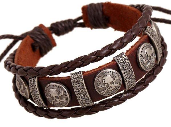 Männliches kühles echtes Leder-umsponnener Freundschaftsschädel-Armband Homme bezaubert Mehrlagen-Schmuck der Radfahrer-Männer