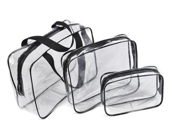 Travel clear PVC cosmetics organizer bag 3 pieces a set waterproof make up brushes storage zipper pouch