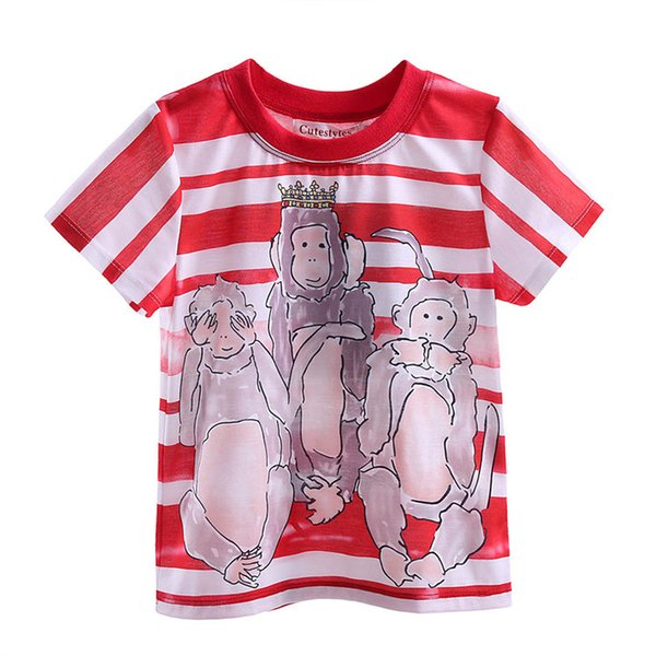 Cutestyles 2016 Funny Boys T-shirts Cute Three Monkey Pattern And Red Stripe Kids T-shirt for 2-9 Years BT90324-19L
