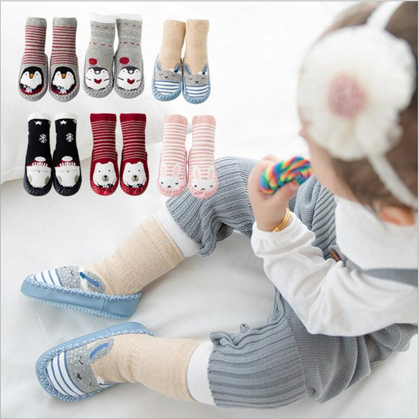 Baby Socks Newborn Winter Floor Socks Toddler Cotton Anti Slip Glue Footwear Kids Fashion Slipper Socks Non-slip Rubber Soles Booties B2914