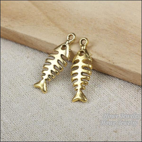 75pcs Vintage Charms fish Pendant Antique gold plated Fit Bracelets Necklace DIY Metal Jewelry Making R007