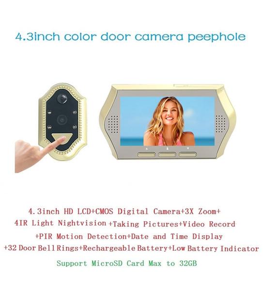 Hot electronic peephole door viewer 4.3inch LCD 0.3Megapixels camera IR Night vision 3X Zoom 32 Rings PIR motion detection door bell