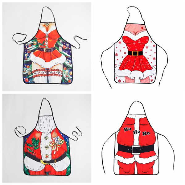 best selling valentine's day Novelty funny Merry christmas apron Santa Claus Dinner Party Apron Holiday Baking Kitchen Cooking BBQ for lover couple