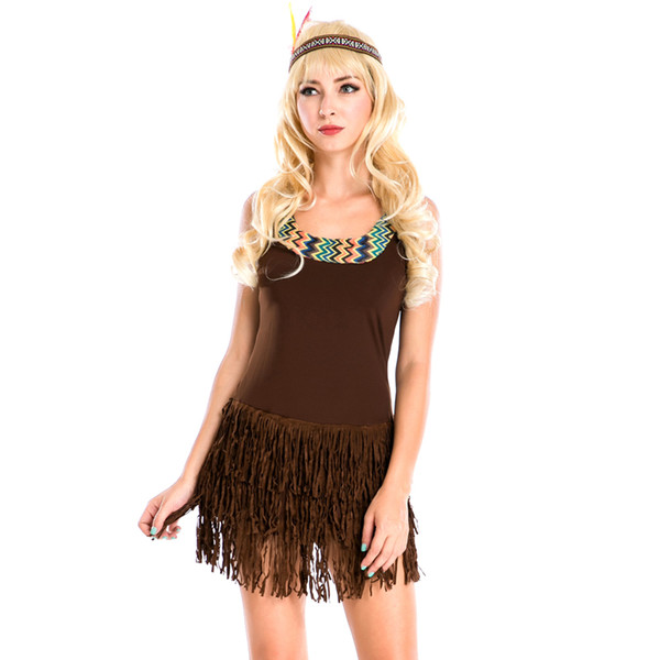 halloween costume lady pocahontas native american indian wild west fancy dress sexy halloween party indian princess - Halloween Native American