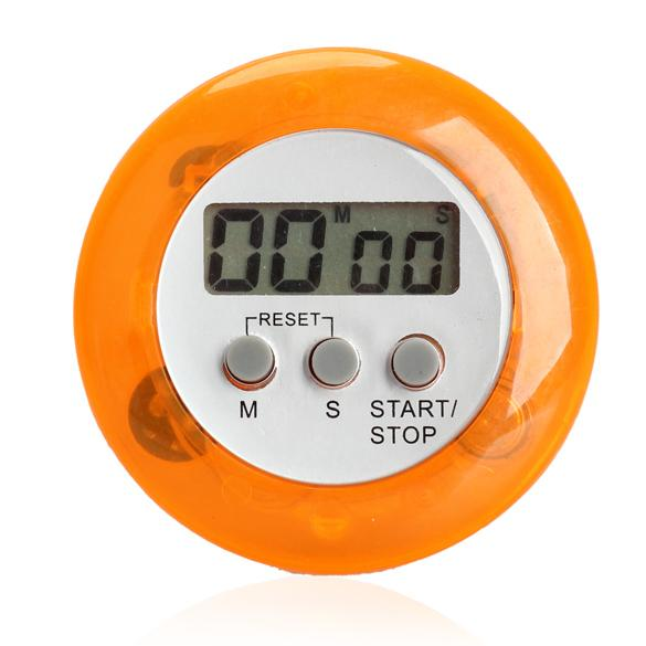 Wholesale- Round Magnetic LCD Digital Kitchen Countdown Timer Alarm with Stand Orange Set Time Reminder Digital Timers NG4S