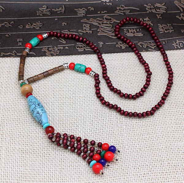 3501da0bcbf3 collares largos único al por mayor-diseño original étnico borla de la  piedra del cristal