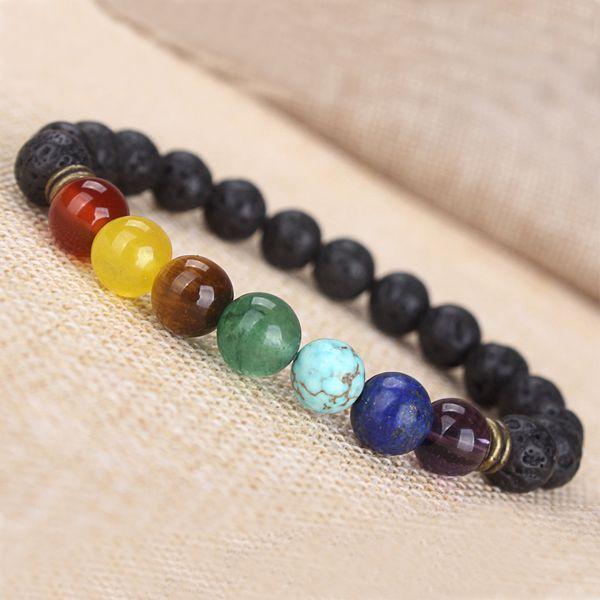 SN0445 Mode 7 Chakra Armband Power Energy Armband Männer Frauen Mode Rock Lava Stein Armband Top Seller Bevorzugt
