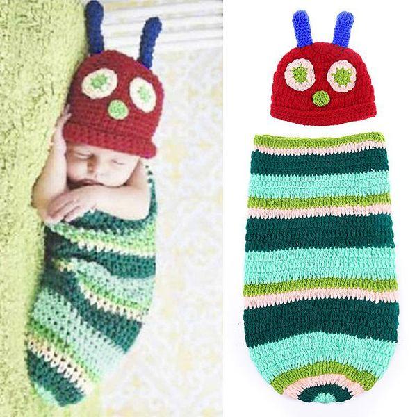 Niños recién nacidos Niñas Crochet Photography Props Caterpillar Cocoon Design Hat Set Party Baby Photo Props