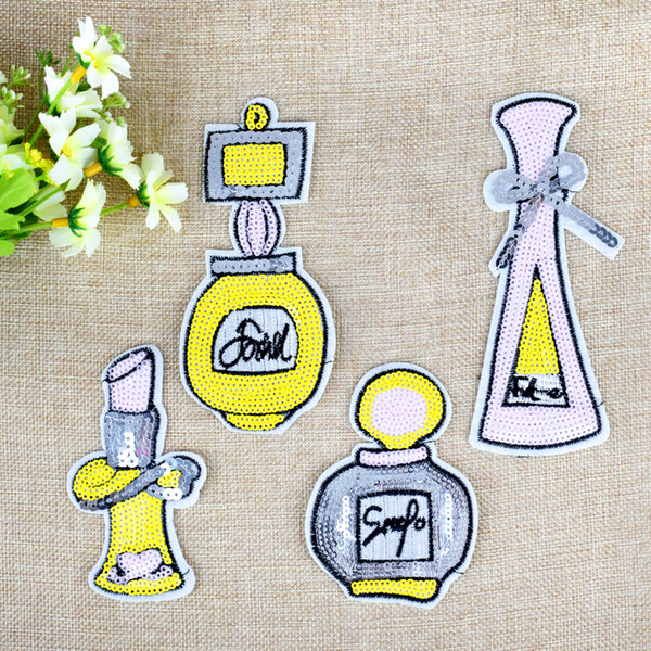 4 Style Sequined Perfume Patches for Clothing Bags Iron on Transfer Applique Patch for Sweater Jeans DIY Sew on Embroidered Sequins 10/PCS