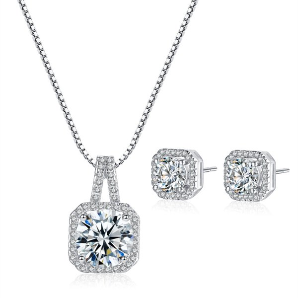best selling 18K White Gold Plated Four Claws Cupid Cut Big CZ Clear Crystal Cluster 8MM Square Stud Earrings Pendant Choker Necklace Jewelry Sets