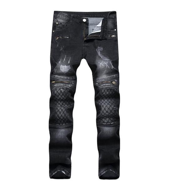 2017 Europa moda foro patch distressed jeans slim fit gamba dritta rock jeans colori retrò pantaloni joker