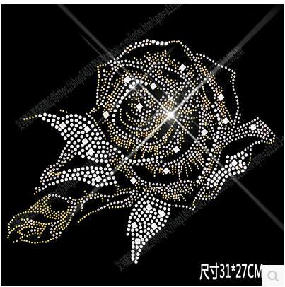 31*27cm bright peony flower DIY bling crystal pattern clothing accessories Hot Fix Rhinestones motif Heat Transfer on Design Iron On clothes