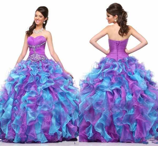 Colorfull Sweet 16 Quinceanera Dresses 2018 with Beaded Sequins Ball Gown organza Vestidos de Longo Purple and Blue Formal party Gowns