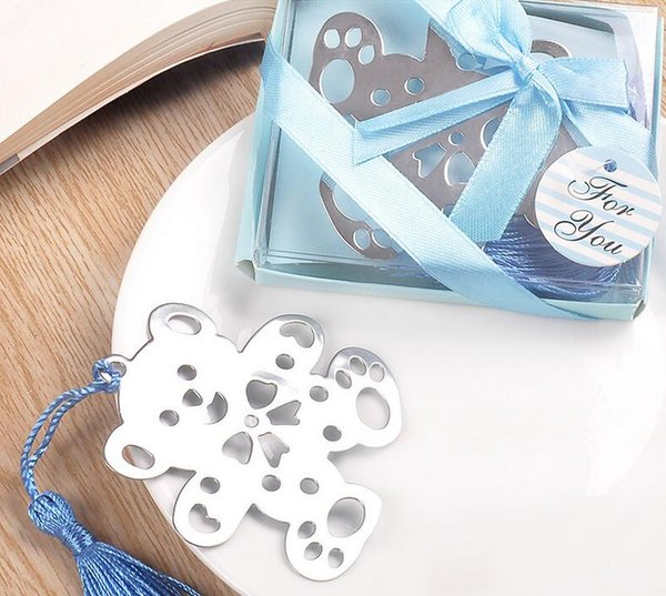 Bluk Favores De Partido Criativo Para Casa urso Teddy Bookmark - Festa Do Chuveiro Do Ventilador Do Chuveiro Do Favor Do Casamento Do Partido Do Bebê (Azul ou Rosa)